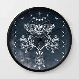 Magical Moth White Wall Clock