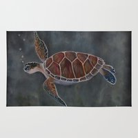 sea turtle Area & Throw Rugs featuring turtle by LisaBCreations