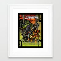 superheroes Framed Art Prints featuring Superheroes  by ZIMZONOWICZ