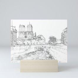 Illustration of Notre Dame de Paris Mini Art Print