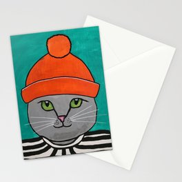 Striped-T-shirt Cat Portrait Original Acrylic on Canvas Painting Stationery Cards