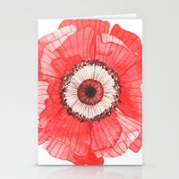 oana befort Stationery Cards featuring Red Poppy by Oana Befort