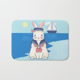 Sailor Bunny At The Beach Bath Mat