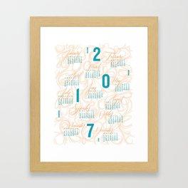 2017 Typographic and Lettering Calendar Orange/Blue Framed Art Print