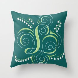 Letter 'L' is for Lilly of the Valley Throw Pillow