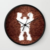 wreck it ralph Wall Clocks featuring Wreck It - Ralph by albert Junior