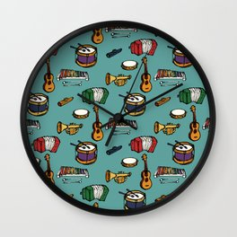 Toy Instruments on Teal Wall Clock