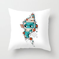 muscle Throw Pillows featuring Muscle cat by Randyotter