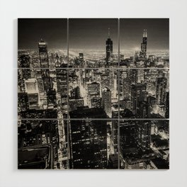 Chicago Skyline at Night Wood Wall Art