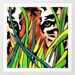 Tiger Eyes Looking Through Tall Grass By annmariescreations Art Print