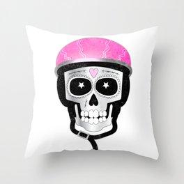 Day of the Dead Biker Skull Throw Pillow