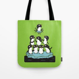Penguin Pyramid - Green Tote Bag