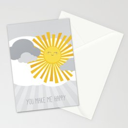 KAWAII SKY - smiling sun in grey clouds - you make me happy Stationery Cards