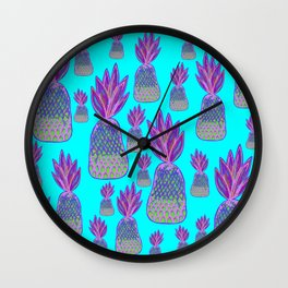 Aqua Pineapple Parade - Neon Pink and Green Pineapples Wall Clock