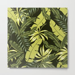 Abstract seamless tropical pattern with bright plants and leaves on a dark background. Exotic jungle wallpaper. Seamless exotic pattern with tropical plants. Beautiful exotic plants. Metal Print