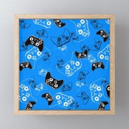 Video Game in Blue Framed Mini Art Print