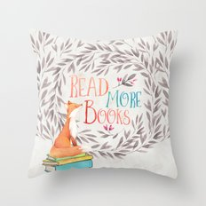 Read More Books - Fox Throw Pillow