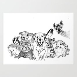 Happiness is animals Art Print