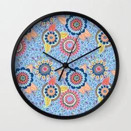 Henna Flowers Wall Clock