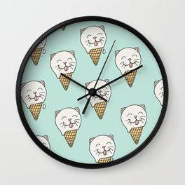 Kitty-Cream Wall Clock