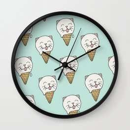 Kitty-Cream Wall Clock