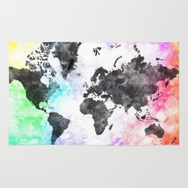 World Map Illustration Black Rug