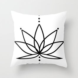 Simple Lotus Flower / Water Lily (Line Art Outline) Throw Pillow