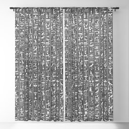 Hieroglyphics B&W INVERTED / Ancient Egyptian hieroglyphics pattern Sheer Curtain