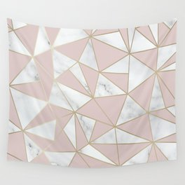 Geometric, Color Puce, Pink Aesthetic with Marble and Gold Wall Tapestry
