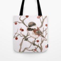 Chickadee & Berries Tote Bag