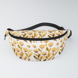 Simple watercolor flowers - orange and brown Fanny Pack