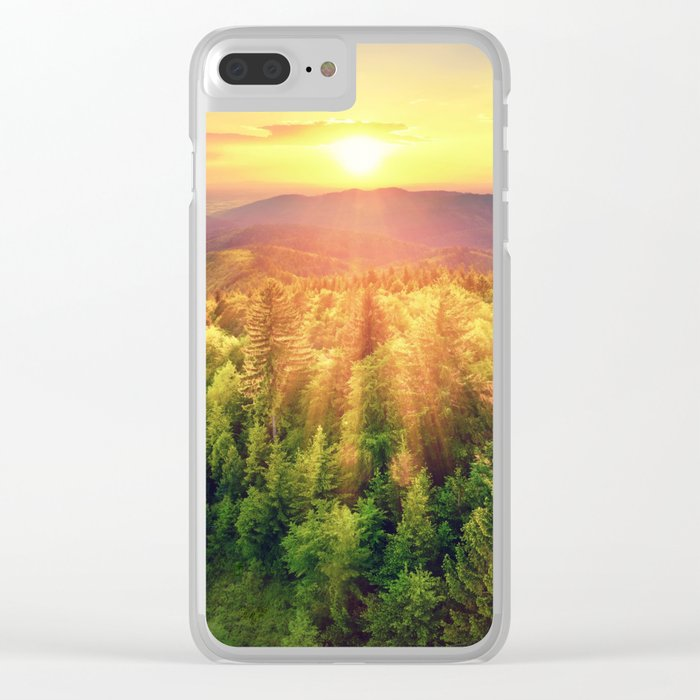 Sunset over forest Clear iPhone Case