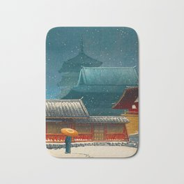 Vintage Japanese Woodblock Print Japanese Red Shinto Shrine Pagoda Winter Snow Bath Mat