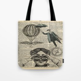 newspaper print dictionary page binoculars hot air balloon victorian steampunk Tote Bag