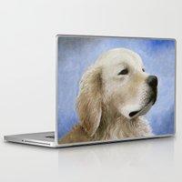 golden retriever Laptop & iPad Skins featuring Dog 98 Golden Retriever by ArtbyLucie