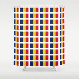 Flag of romania-romania,romanian,balkan,bucharest,danube,romani,romana,bucuresti Shower Curtain