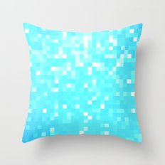 turquoise Pixel Sparkle Throw Pillow