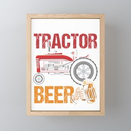 Weekend Forecast Tractor Beer Tractor Pulling Gift Framed Mini Art Print
