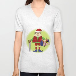 Will Work for Milk and Cookies Elf Unisex V-Neck