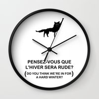 roald dahl Wall Clocks featuring Canis Lupus by KINGOFTHERATS