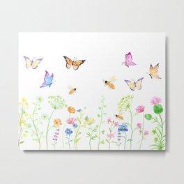Watercolor Wildflower Meadow and Butterflies Metal Print