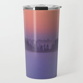 Foggy Winter Evening With Beautiful Sunset Colors In The Sky #decor #buyart #society6 Travel Mug