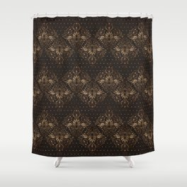 Persian Oriental pattern wood and gold Shower Curtain
