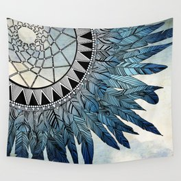 blue feather dreamcatcher Wall Tapestry