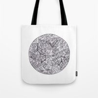 constellation Tote Bags featuring Constellation by Inked in Red