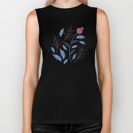 Purple Thistle Buds Biker Tank