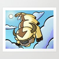 appa Art Prints featuring Appa by Jelly Soup Studios