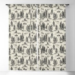 Black Alien Abduction Toile De Jouy Pattern Blackout Curtain