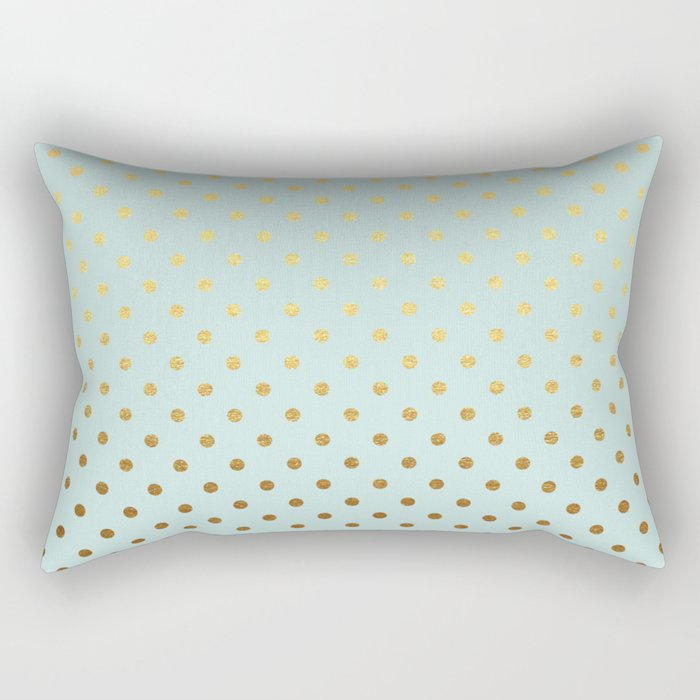 Gold polka dots on aqua background - Luxury turquoise pattern #Society6 Rectangular Pillow