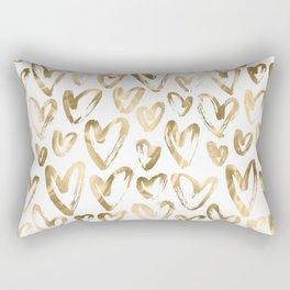 Gold Love Hearts Pattern on White Rectangular Pillow